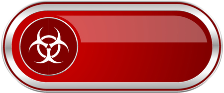 bacterioa: Biohazard red long glossy silver metallic banner. Modern design web icon for smartphone applications Stock Photo