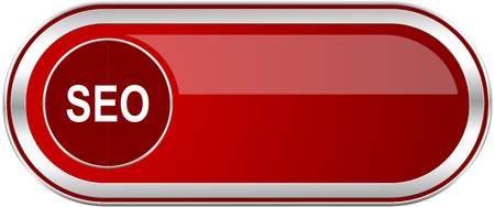 Seo red long glossy silver metallic banner. Modern design web icon for smartphone applications Stock Photo
