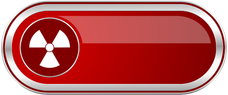 gamma radiation: Radiation red long glossy silver metallic banner. Modern design web icon for smartphone applications