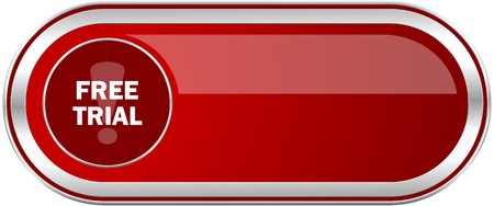 Free trial red long glossy silver metallic banner. Modern design web icon for smartphone applications