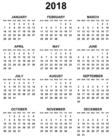 mondays: Simple editable black and white vector calendar 2018 year sunday first in eps 10.