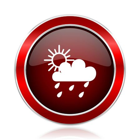 Rain red round glossy vector web icon circle modern design chrome metal border abstract sign for smartphone applications.