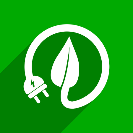 Green natural clean energy plug and leaf flat design vector web icon.