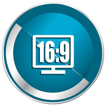 16 9 display: 16 9 display blue vector icon.
