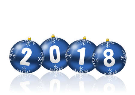 2018 happy new years illustration with christmas balls on white background.