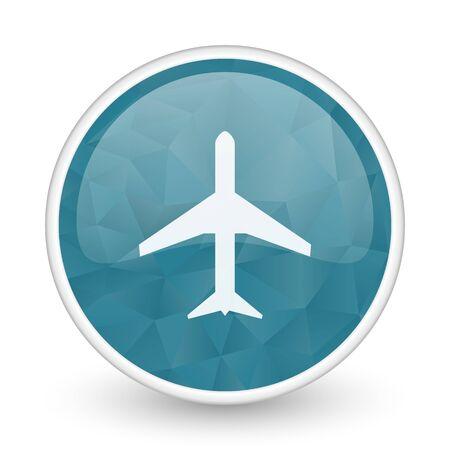 Plane brillant crystal design round blue web icon.