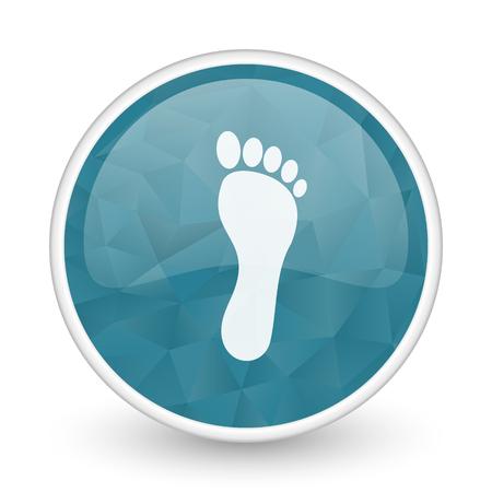 massage symbol: Foot brillant crystal design round blue web icon.