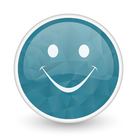 brillant: Smile brillant crystal design round blue web icon.