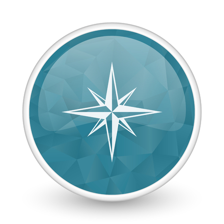 Compass brillant crystal design round blue web icon.