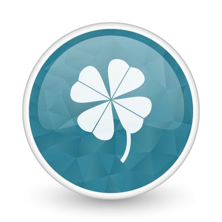 Four-leaf clover brillant crystal design round blue web icon.