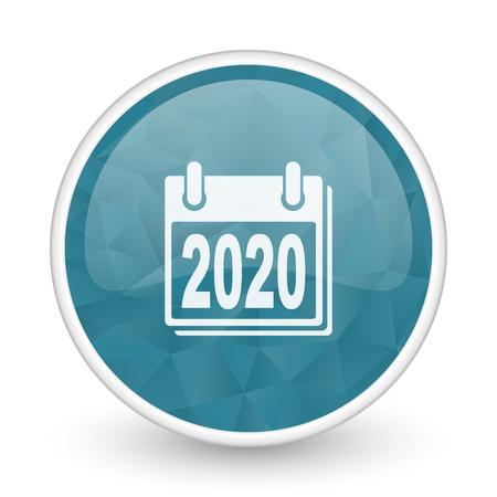next year: New year 2020 brillant crystal design round blue web icon.