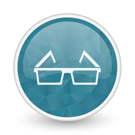brillant: 3d glasses brillant crystal design round blue web icon. Stock Photo