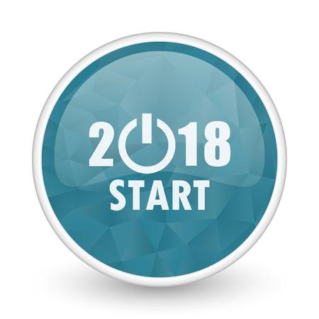 next year: New year 2018 brillant crystal design round blue web icon.