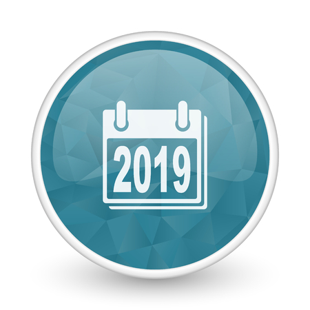next year: New year 2019 brillant crystal design round blue web icon. Stock Photo
