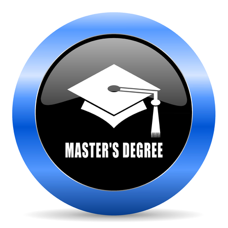 master degree: Masters degree black and blue web design round internet icon with shadow on white background. Stock Photo