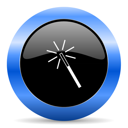 Magic wand black and blue web design round internet icon with shadow on white background.