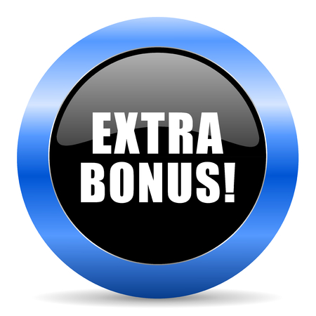 discounting: Extra bonus black and blue web design round internet icon with shadow on white background. Stock Photo