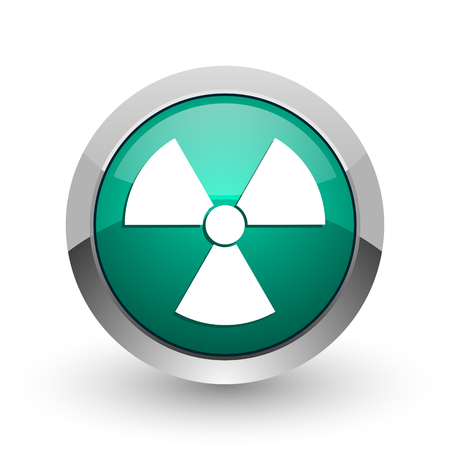 atomic bomb: Radiation silver metallic chrome web design green round internet icon with shadow on white background.