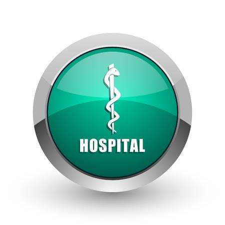 aesculapius: Hospital silver metallic chrome web design green round internet icon with shadow on white background.