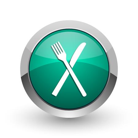 Restaurant silver metallic chrome web design green round internet icon with shadow on white background. Stock Photo