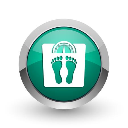 kilograms: Weight silver metallic chrome web design green round internet icon with shadow on white background. Stock Photo