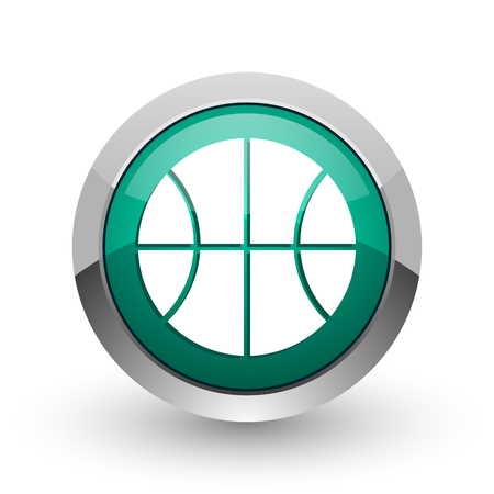 Ball silver metallic chrome web design green round internet icon with shadow on white background. Stock Photo