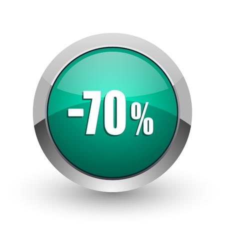 decreasing: 70 percent sale retail silver metallic chrome web design green round internet icon with shadow on white background.