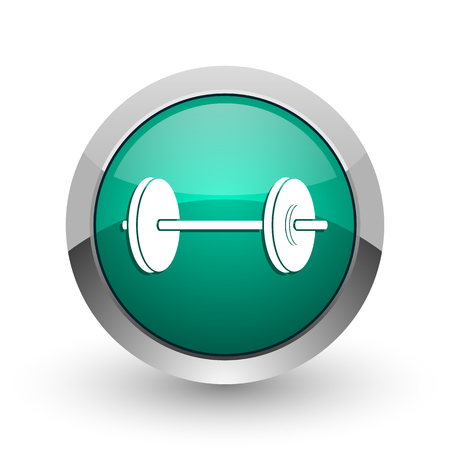 circular muscle: Fitness silver metallic chrome web design green round internet icon with shadow on white background.