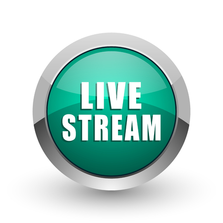 Live stream silver metallic chrome web design green round internet icon with shadow on white background.