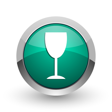Alcohol  silver metallic chrome web design green round internet icon with shadow on white background.