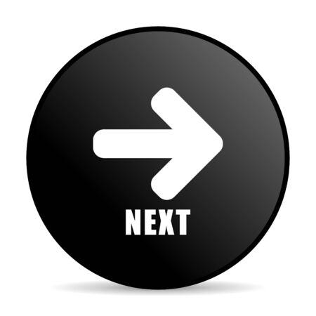Next black color web design round internet icon on white background. Stock Photo
