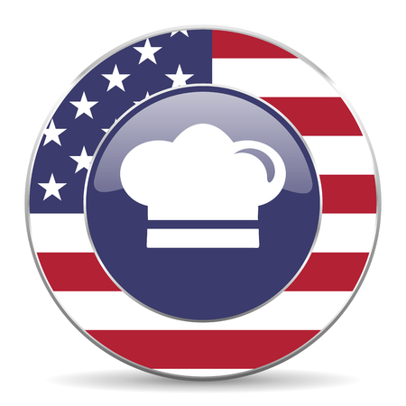 Cook usa design web american round internet icon with shadow on white background. Stock Photo