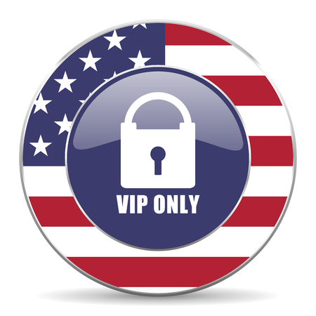 privilege: Vip only usa design web american round internet icon with shadow on white background.