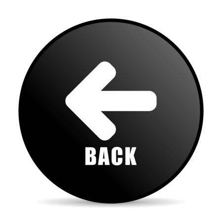 Back black color web design round internet icon on white background. Stock Photo