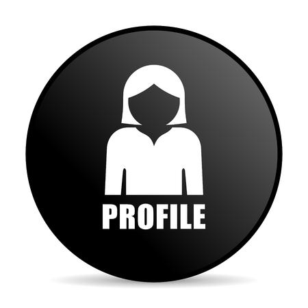Profile black color web design round internet icon on white background. Stock Photo
