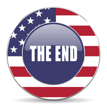 The end usa design web american round internet icon with shadow on white background. Stock Photo