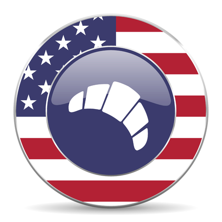 Croissant usa design web american round internet icon with shadow on white background.