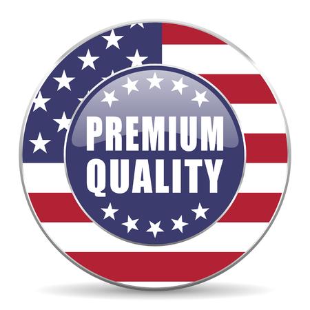 Premium quality usa design web american round internet icon with shadow on white background.