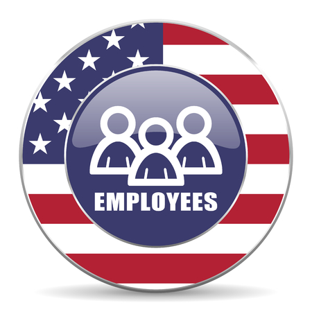 Employees usa design web american round internet icon with shadow on white background.