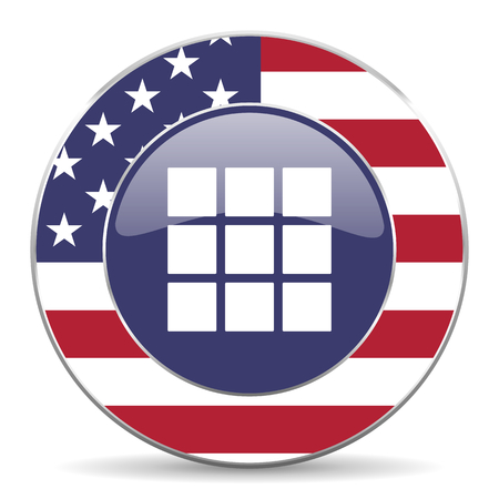 Thumbnails grid usa design web american round internet icon with shadow on white background.