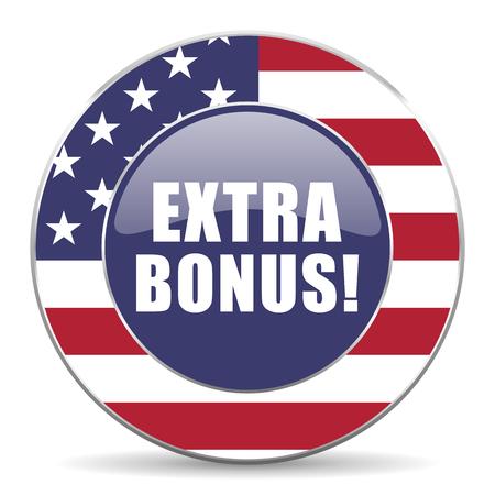 discounting: Extra bonus usa design web american round internet icon with shadow on white background.