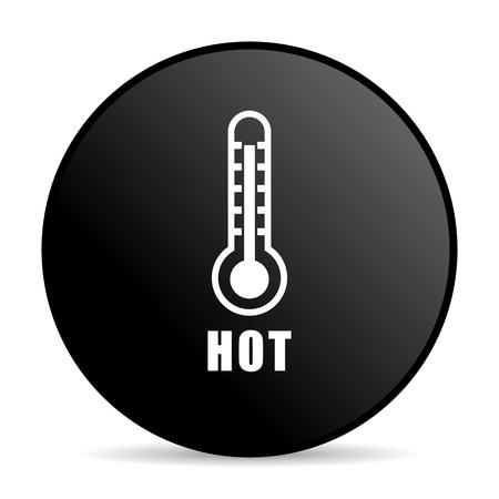 Hot temperature black color web design round internet icon on white background.