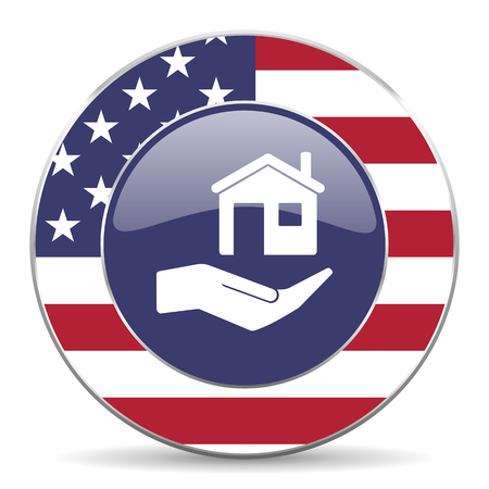 investment real state: House care usa design web american round internet icon with shadow on white background. Foto de archivo
