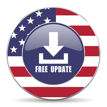 Free update usa design web american round internet icon with shadow on white background.