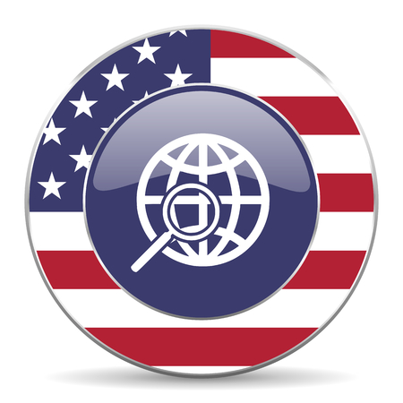 Search usa design web american round internet icon with shadow on white background.