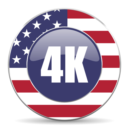 high definition television: 4k usa design web american round internet icon with shadow on white background.