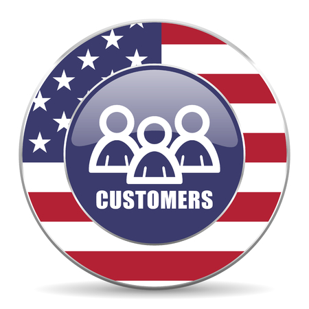 Customers usa design web american round internet icon with shadow on white background.
