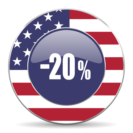 20 percent sale retail usa design web american round internet icon with shadow on white background.