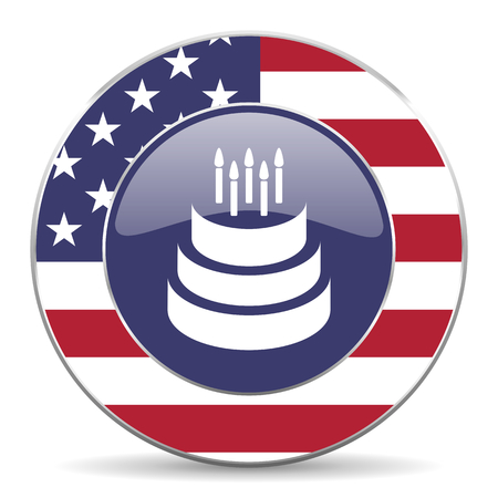 Cake usa design web american round internet icon with shadow on white background.