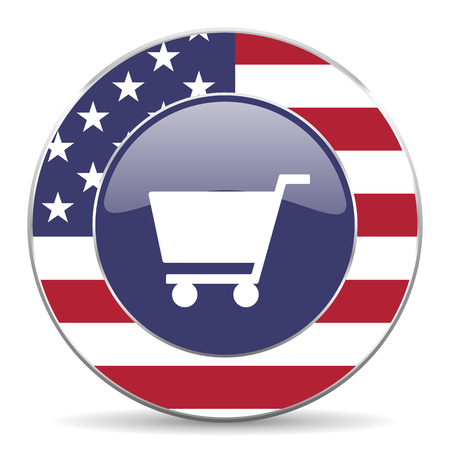 Cart usa design web american round internet icon with shadow on white background. Stock Photo